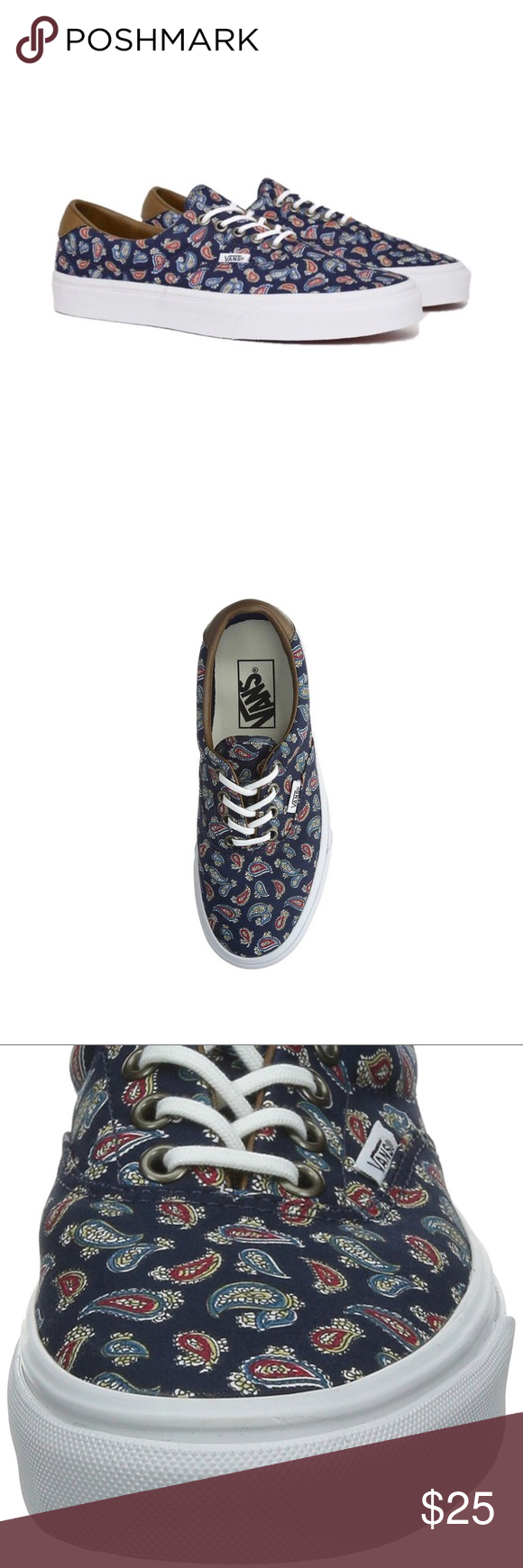 59945e91e4 Unisex Vans Era 59 Eclipse Navy Blue Paisley Shoes I will add pictures of  the actual