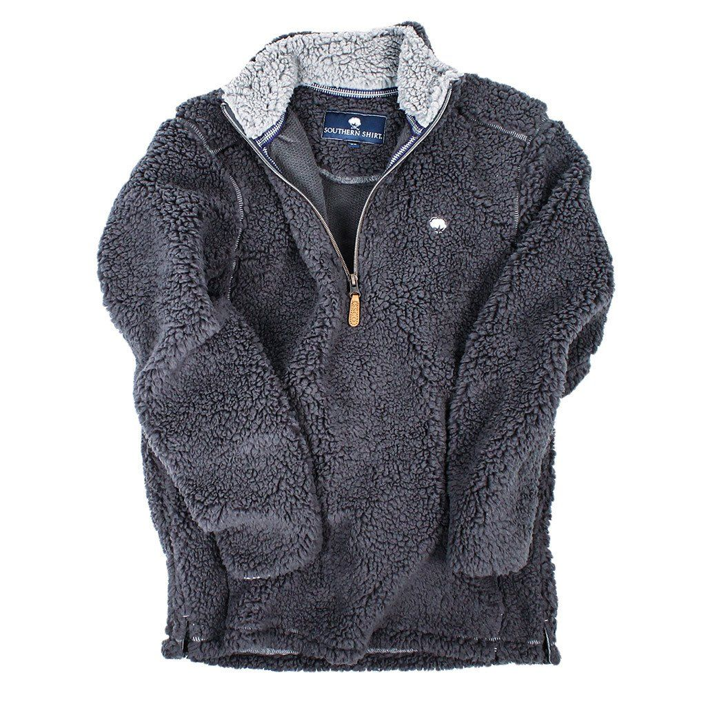 Quarter Zip Sherpa Pullover in Magnet Grey by The Southern Shirt ...