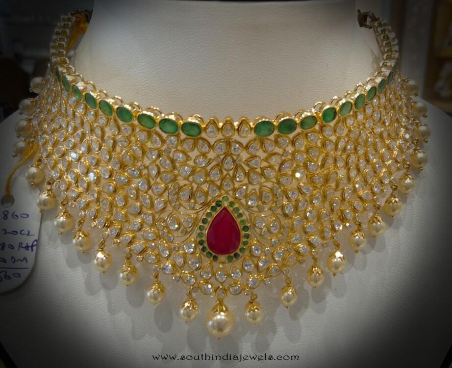 1cb1e4da1f615 Uncut Diamond Choker Necklace from Navkar Gold World   Choker ...