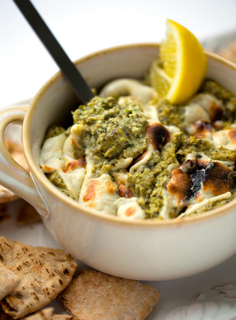Vegan Fresh Artichoke Dip with Lemon, Garlic and Spinach