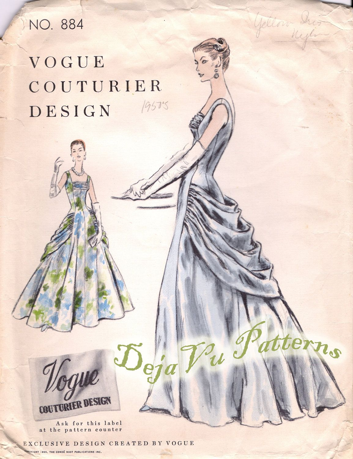 Vogue 884 Evening Dress Sewing Pattern Vintage 1950s Ball Gown Size
