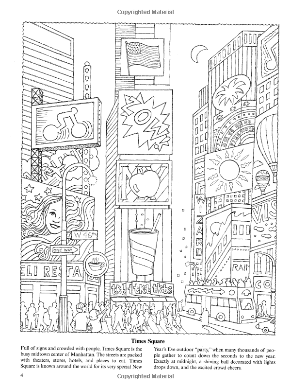 New York for Kids: 25 Big Apple Sites to Color (Dover Coloring Books ...