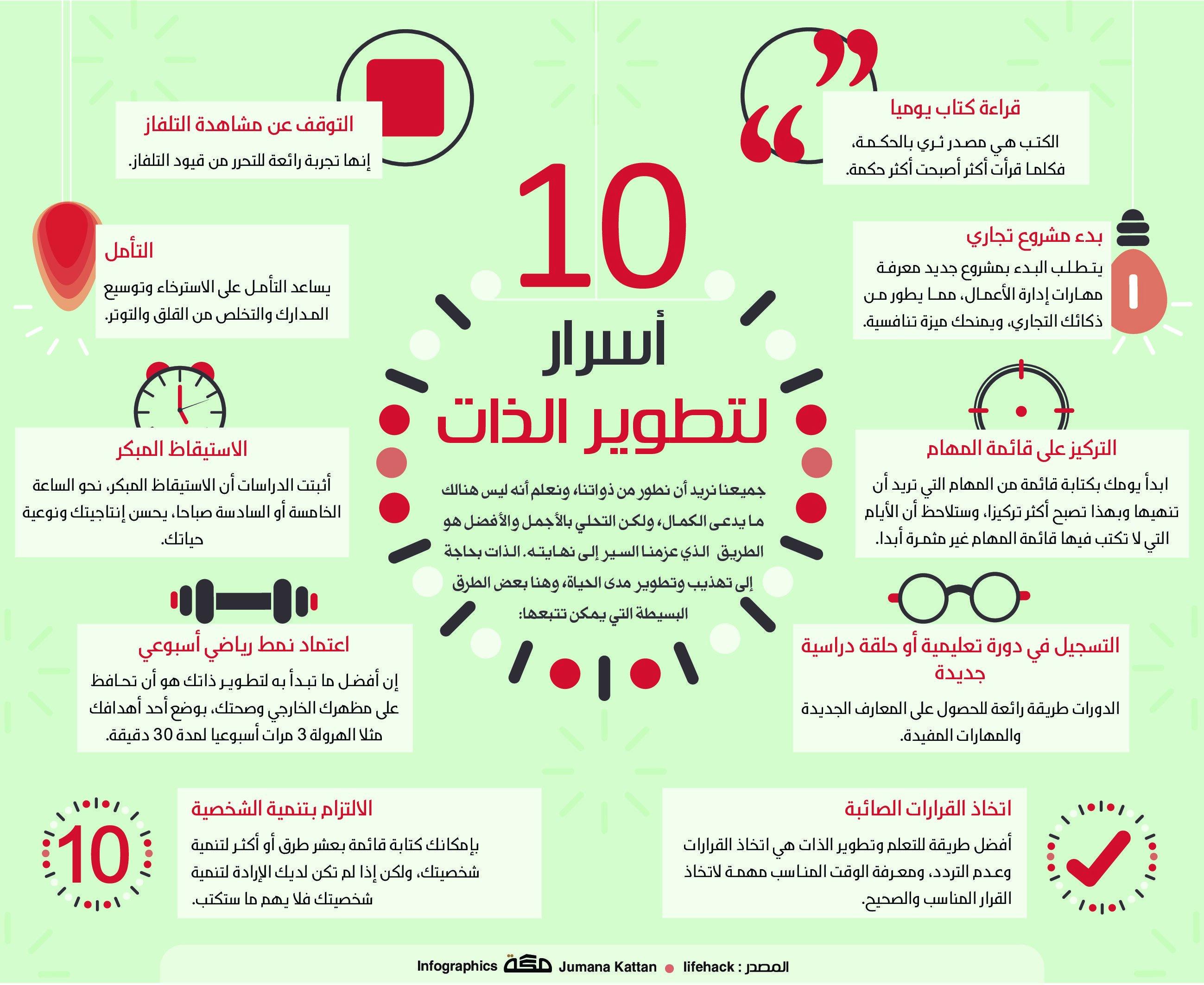 10 أسرار لتطوير الذات صحيفة مكة انفوجرافيك تطويرالذات Learning Websites Self Development Books Learn English Words