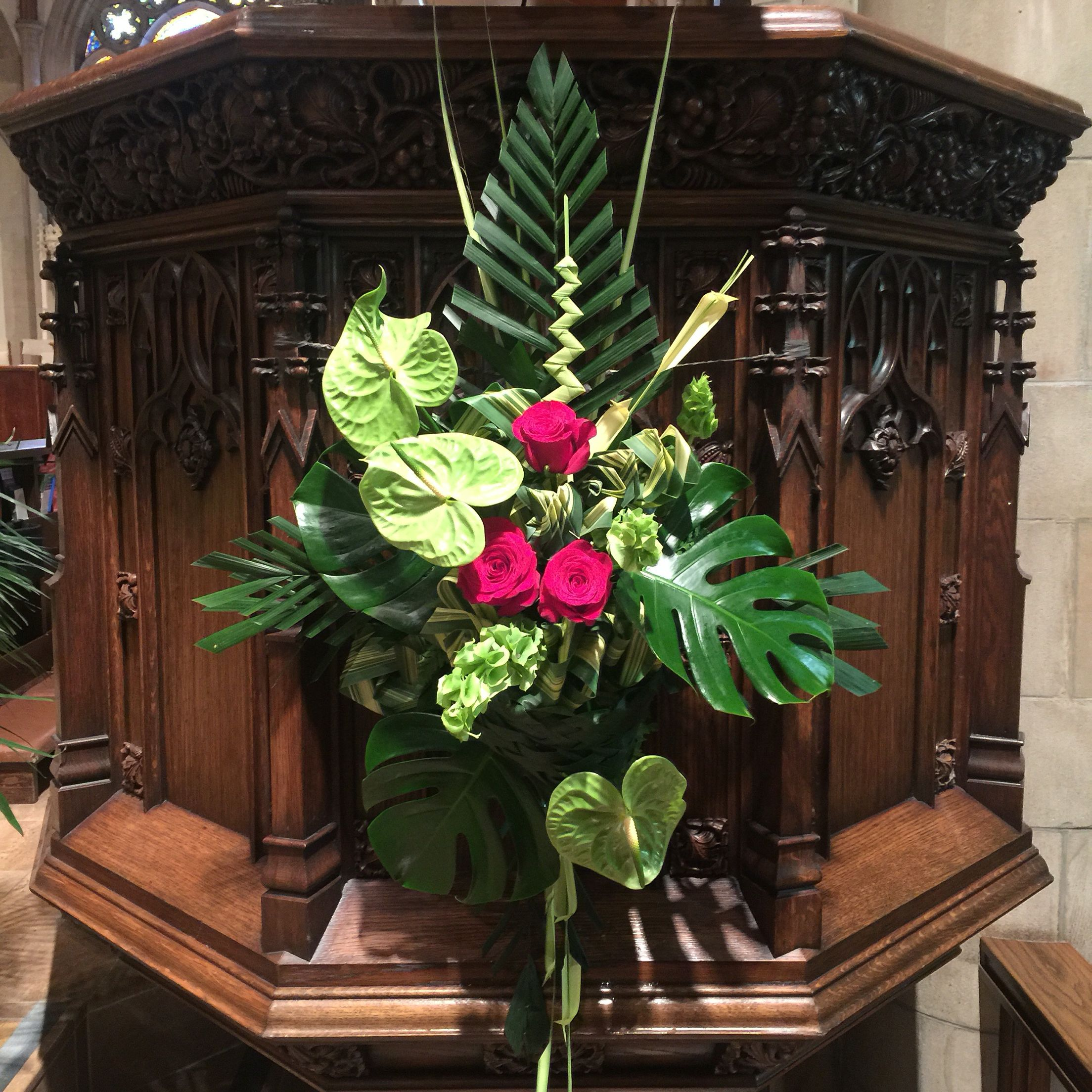 Flower Arrangement For Church Pulpit: Palm Sunday Pulpit Spray By Devika
