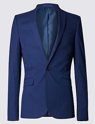 Notch Lapel Super Slim Fit 1 Button Twill Jacket Clothing
