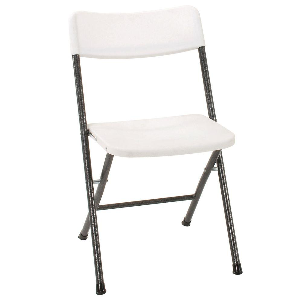 Cosco White Plastic Seat Metal Frame Outdoor Safe Folding Chair