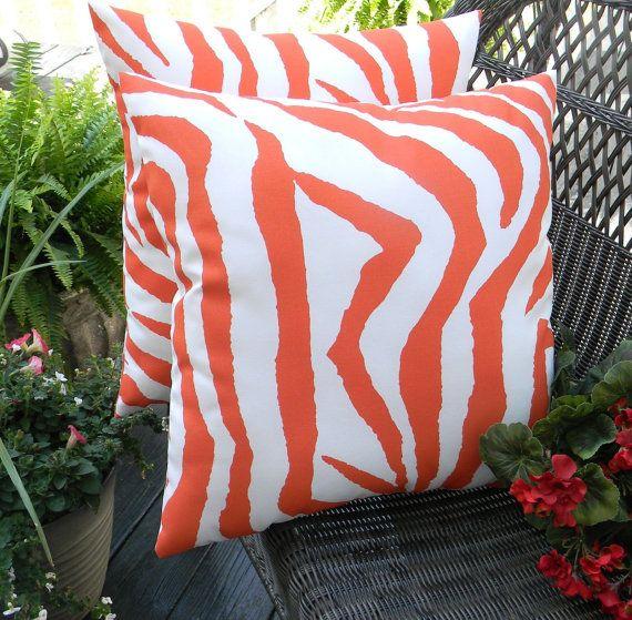 SET OF 2  Indoor / Outdoor 17 Preppy Orange & White Zebra Print Throw Pillows by PillowsCushionsOhMy, $39.96