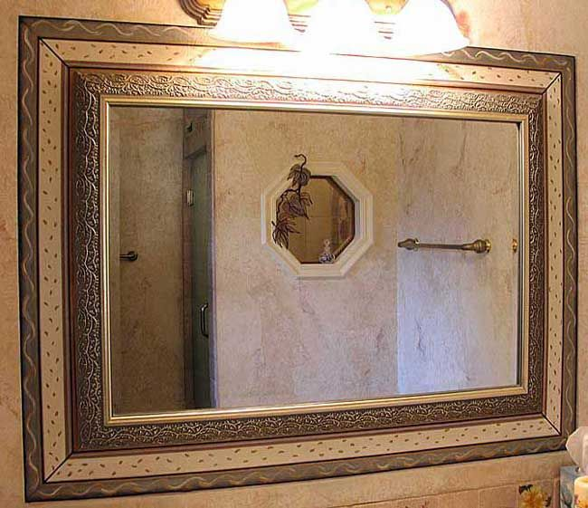 Borders Around Bathroom Mirror | Bathroom Mirror Custom Hand Painted Border  Around Mirror