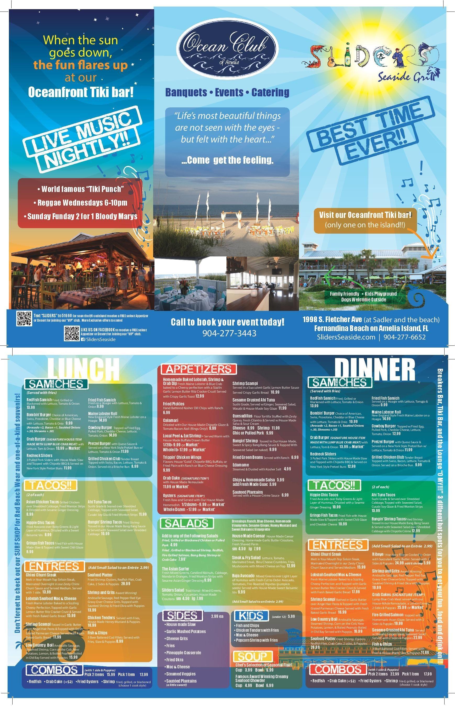 Sliders Seaside Grill - Lunch Menu | amelia island | Pinterest ...