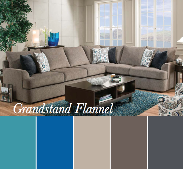 Teal Gray Taupe Sectional Color Scheme Featuring The Grand Stand Flannel Sectional American Freigh Sectional Sofa Upholstered Sectional Grey Sectional Sofa #richmond #tan #living #room #sectional