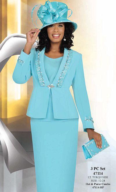 Ben Marc Womens Light Turquoise 3pc Flattering Church Suit 47114