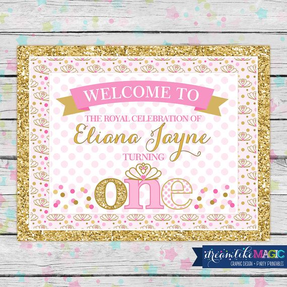 printable welcome sign princess birthday party pink and gold glitter and pink