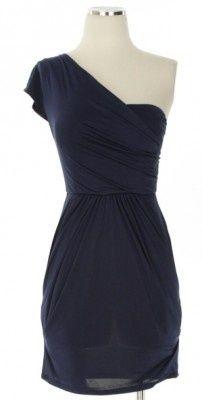 Navy one-shoulder cocktail dress.