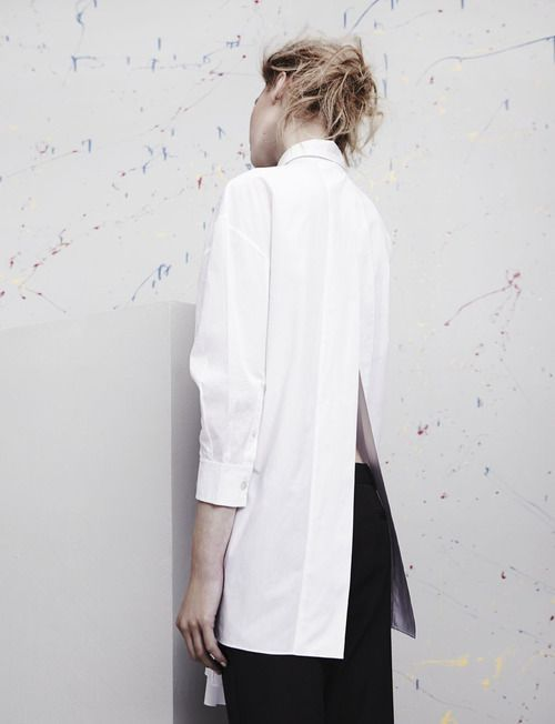 Contemporary Fashion - long white shirt with sleek split back ...