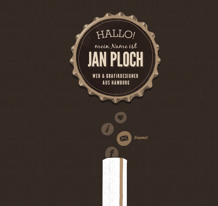 links para zonas do site (work + process + email + facebook) inseridos na ilustração.  http://www.janploch.de