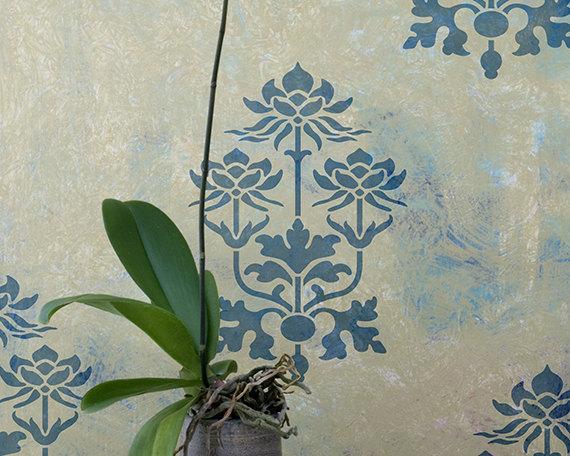 Lotus flower motif wall art and craft stencil for diy decor and lotus flower motif furniture and craft by royaldesignstencils 1595 mightylinksfo