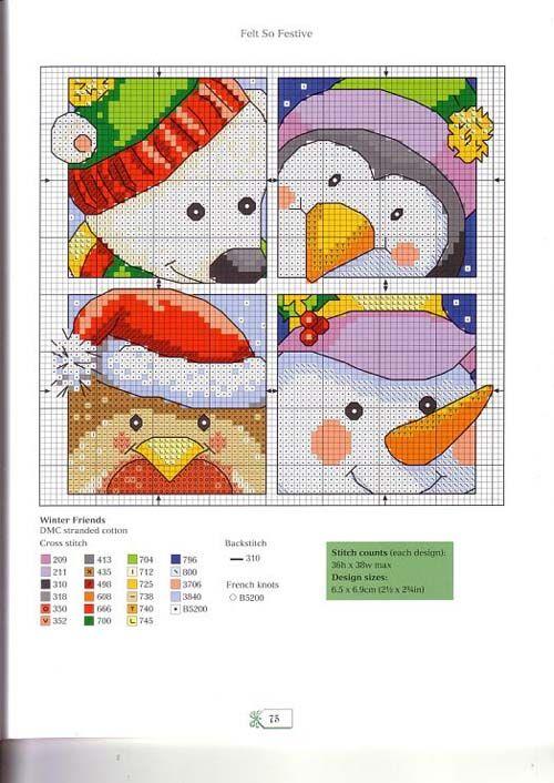 Graficos de muñecos de nieve en punto de cruz | Proyectos que ...