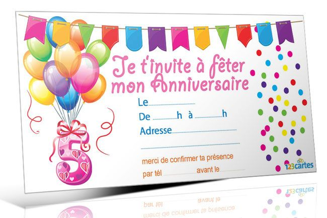 invitation anniversaire 5 ans 123 cartes anniversaire. Black Bedroom Furniture Sets. Home Design Ideas
