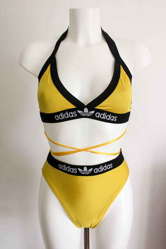 72f2049b41206 High waisted reworked adidas bikini set with cute waist strings in ...