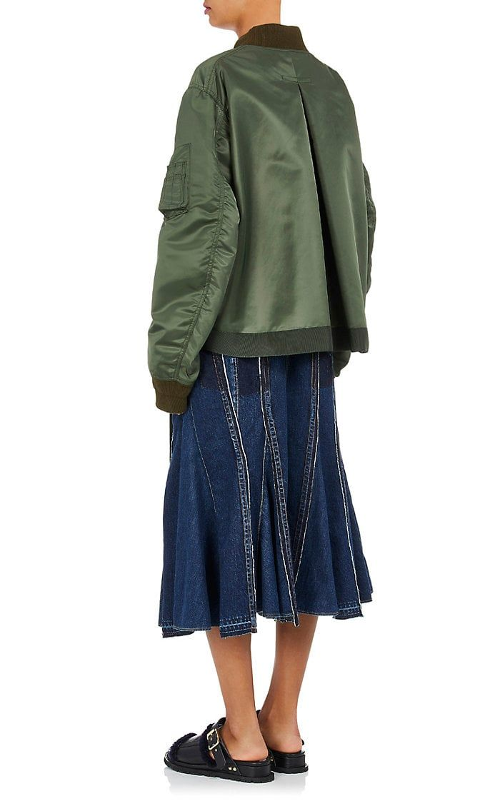 Womens Pleat-Back Bomber Jacket sacai