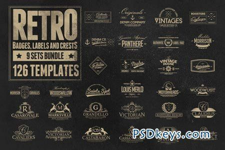 126 Retro Badges, Labels \ Crests 85838 Brushes \ Vectors - abel templates psd