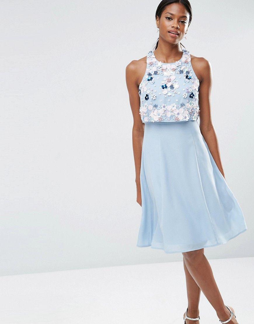 Image 1 of ASOS Multi Cluster 3D Floral Crop Top Midi Dress ...