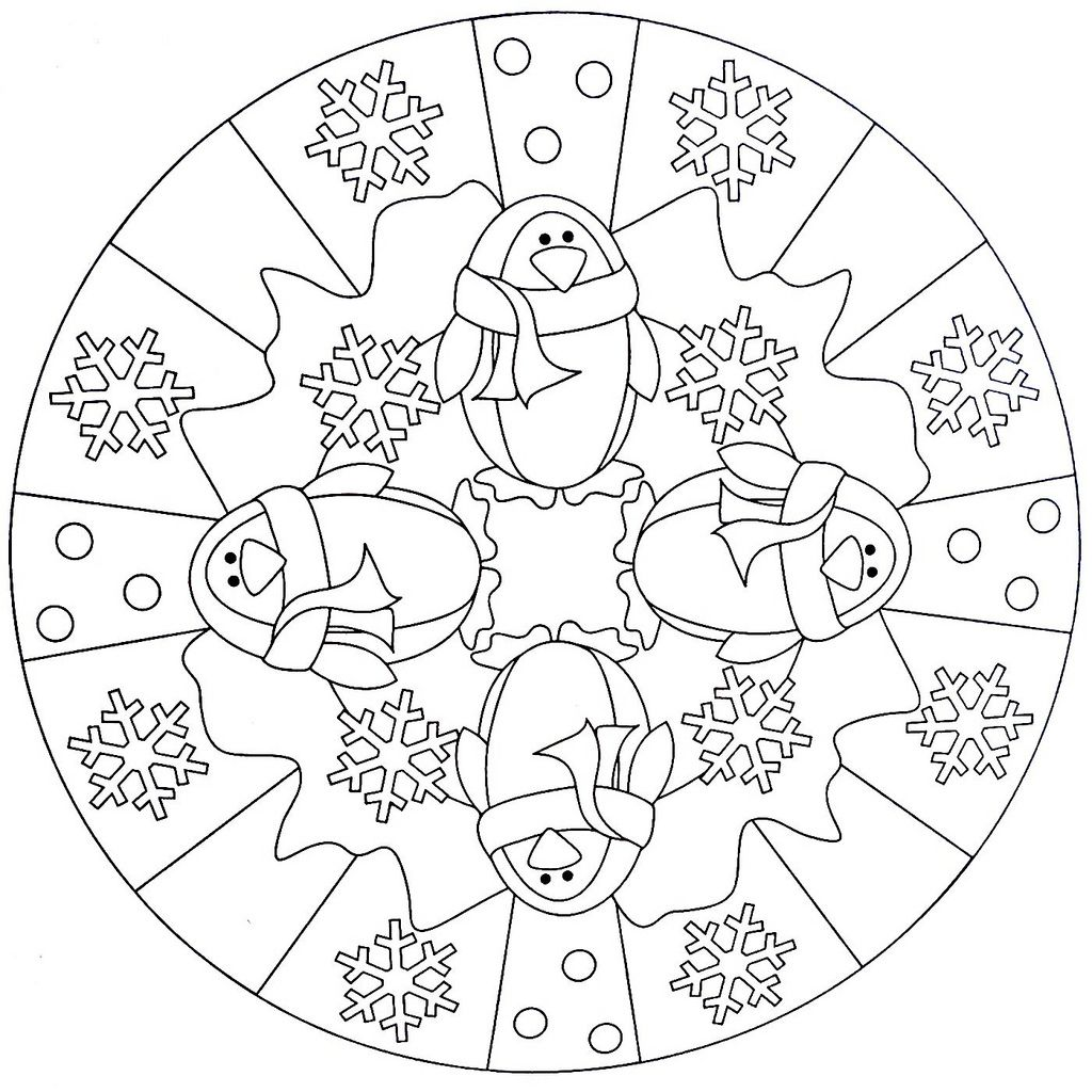 mandala coloring page penguin ausmalbilder winter. Black Bedroom Furniture Sets. Home Design Ideas