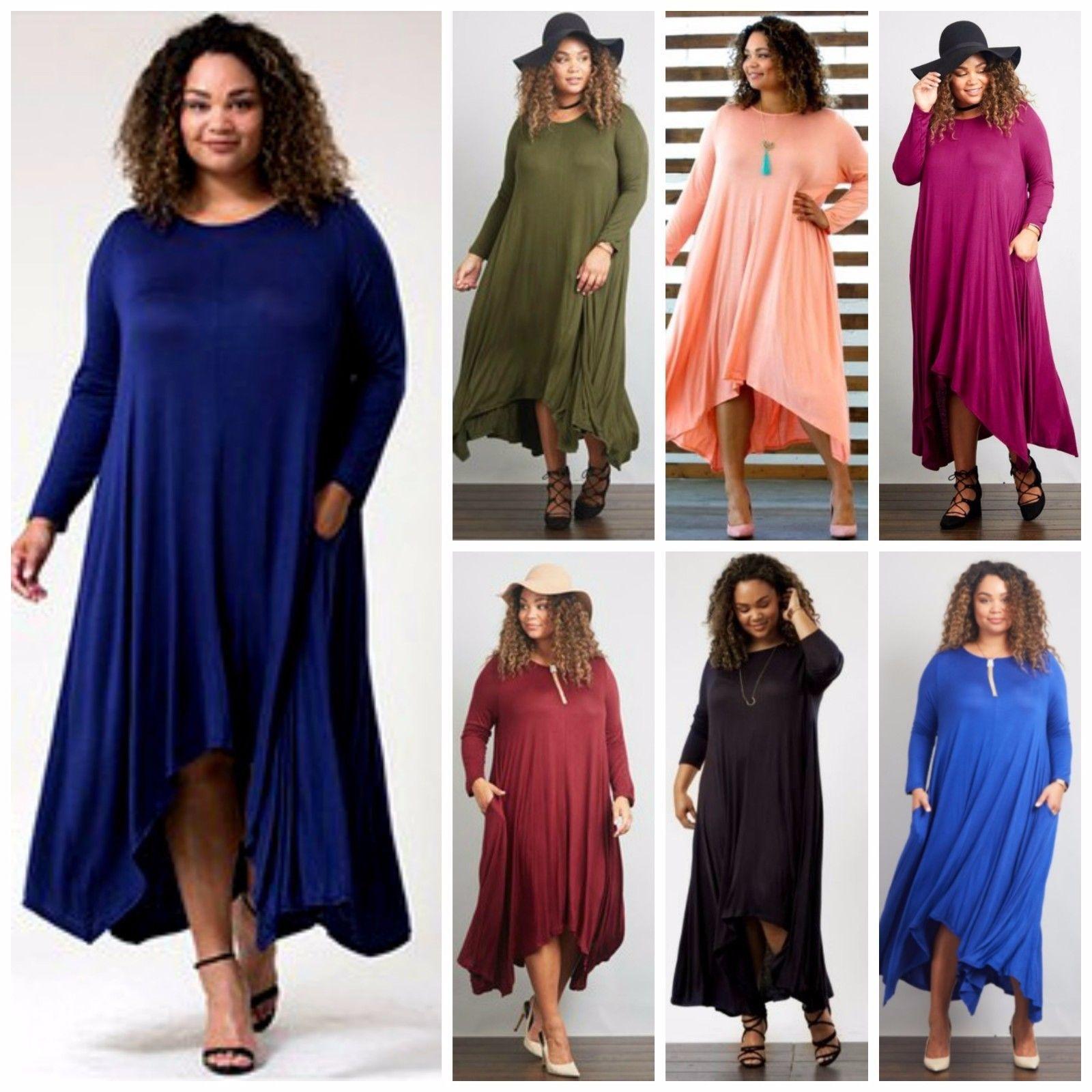 Plus size flowy long sleeve asymmetrical knit maxi dress colors