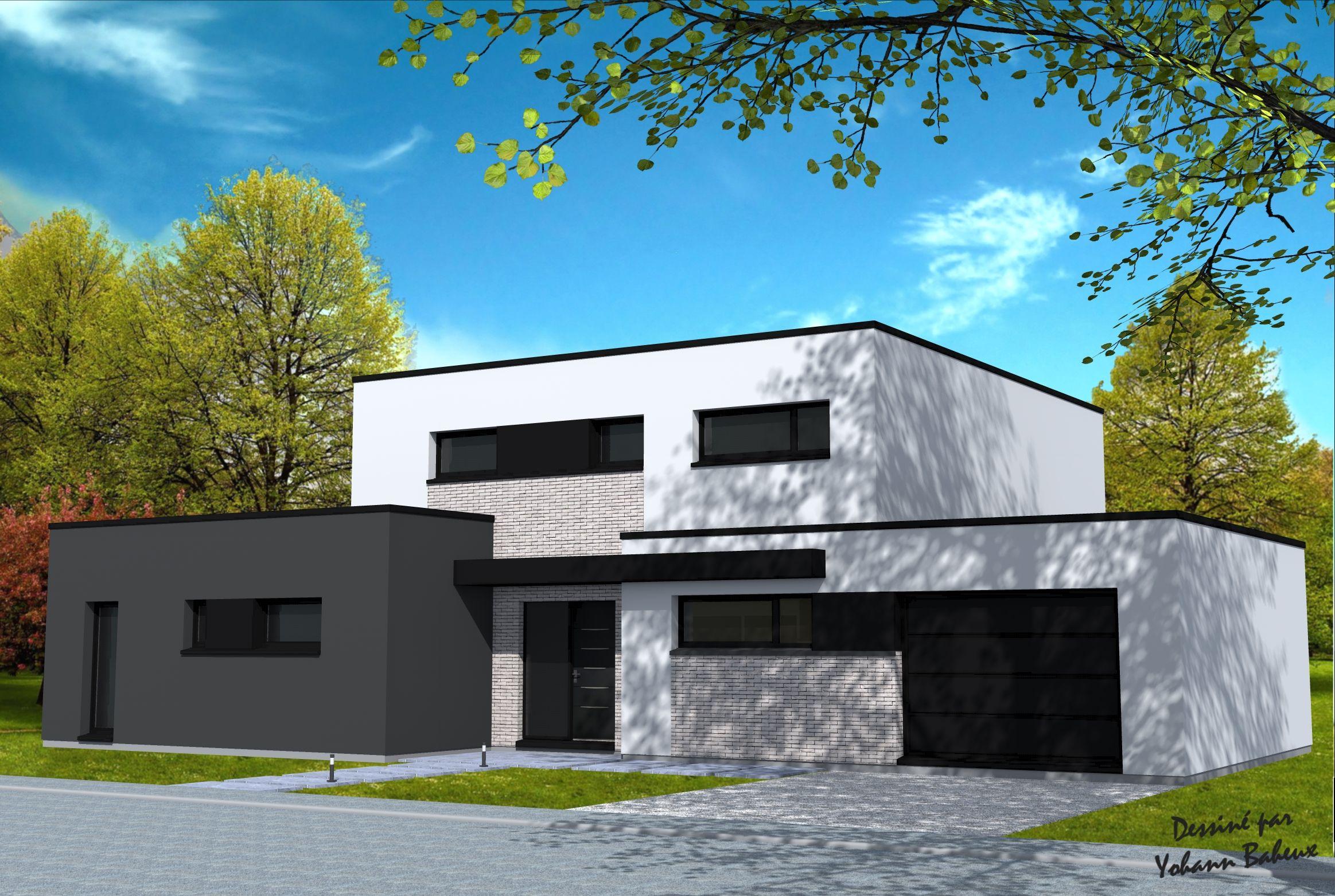 Maison de 3 cubes avec diffrentes hauteurs parties en briques grises enduit blanc et gris