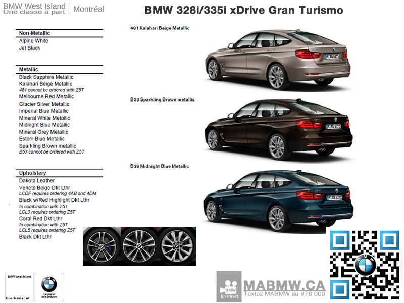 Couleurs BMW Ii XDrive GT Options Different Colors - Bmw 328i options