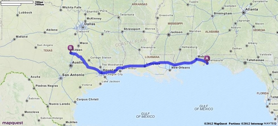 Driving Directions From Pensacola Florida To Killeen Texas - Mapquest driving directions texas