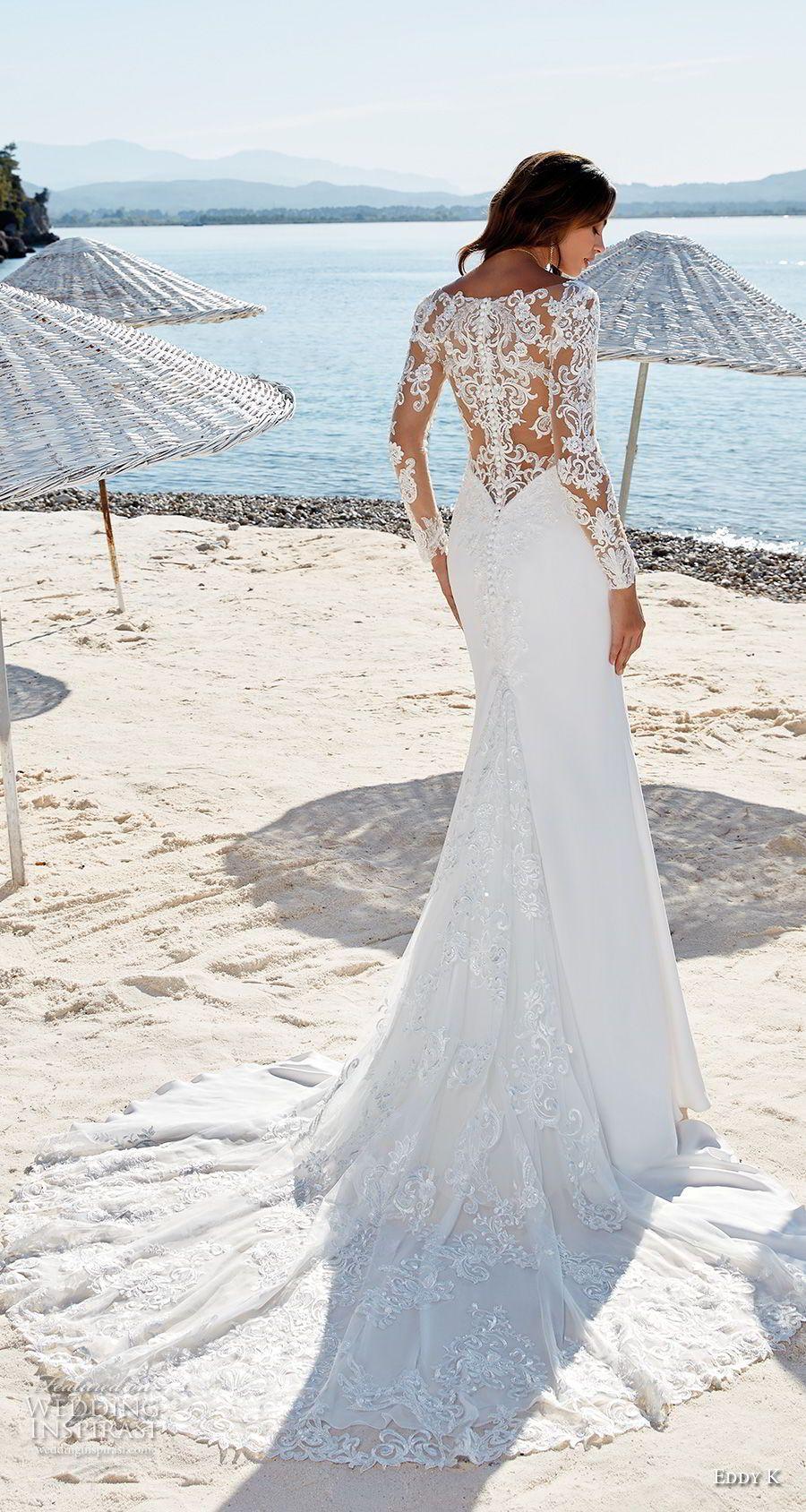 eddy k 2018 bridal long sleeves v neck simple elegant fit