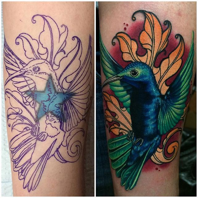 Before and after cover up photo from my tattoo yesterday at @gritnglory