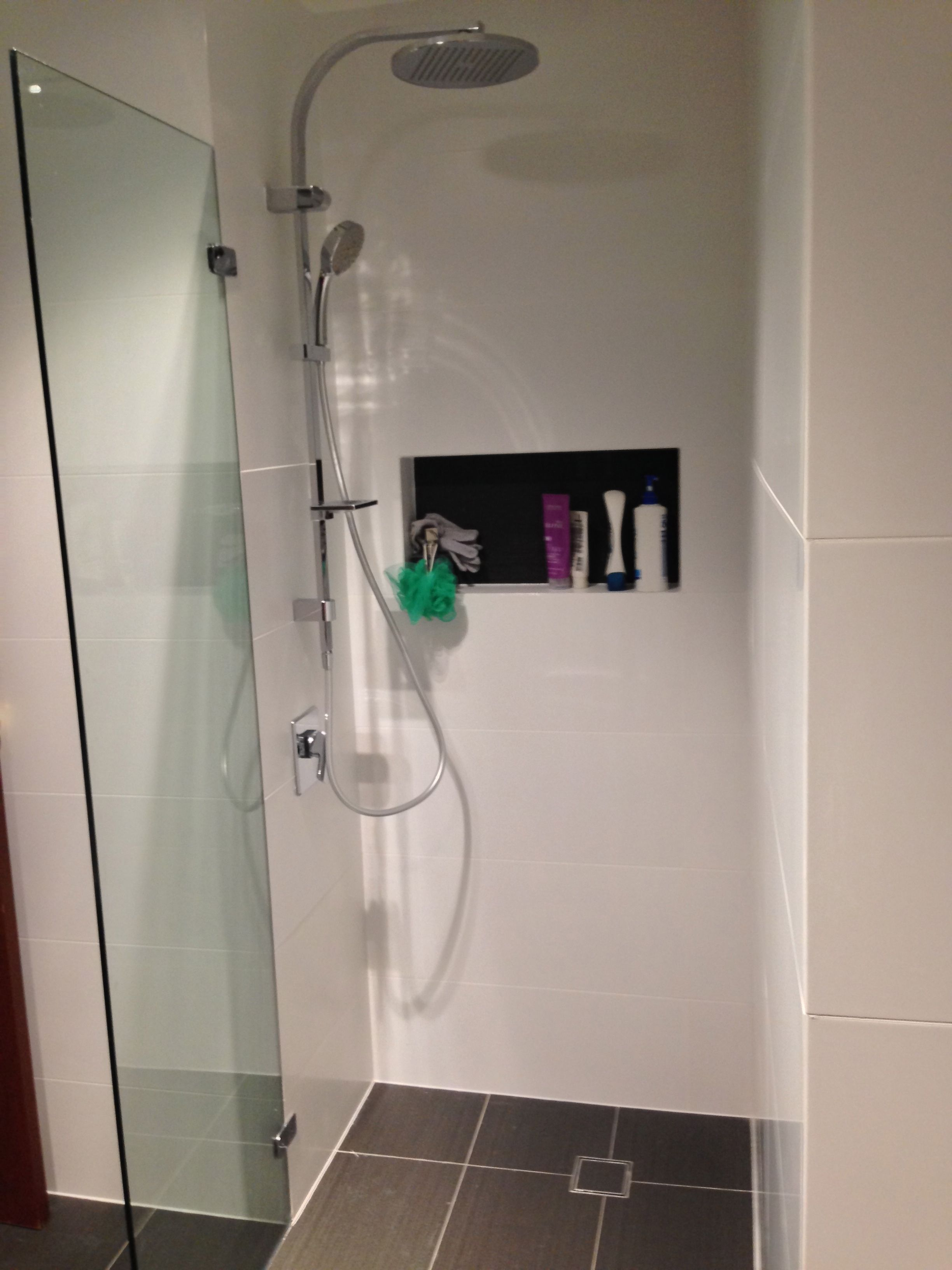 Finished ensuite - frameless shower screen, rail shower and wall ...