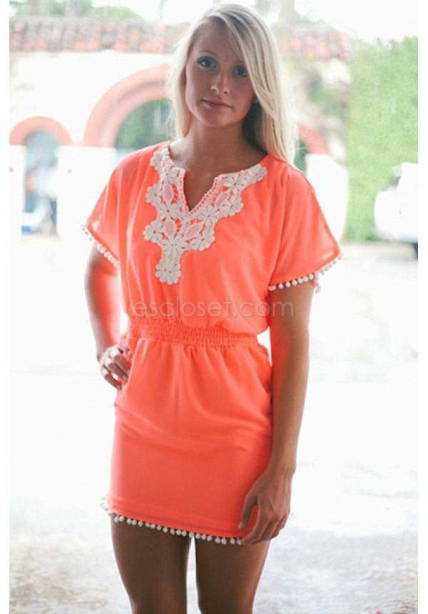 ca6c4c27a5 Neon coral swimsuit cover-up, with attatched lace | E's Closet Boutique Swim  suit cover up, bathing suit, summer, spring, beach, lake, bright, fashion
