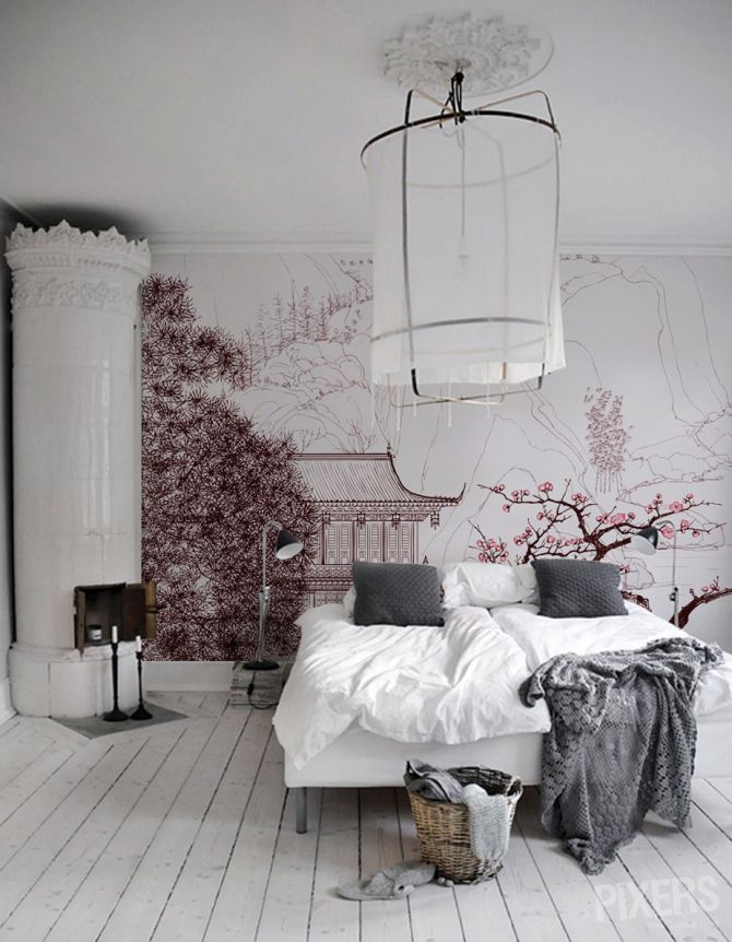 Cherry Blossom Treeountains Wall Mural