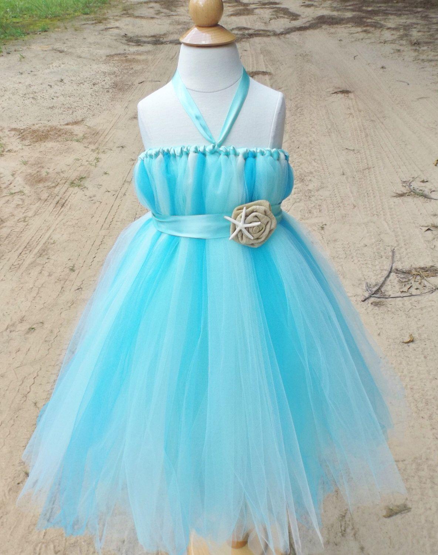 Beach wedding flower girl dress aqua flower girl dress