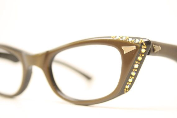 c5c77e44db Unused Brown Rhinestone Cat Eye Glasses Cateye Frames Vintage Eyewear 1960s Eyeglasses  New Old Stock