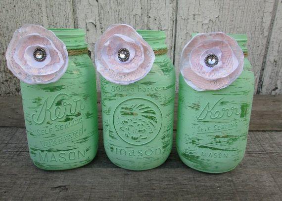 Good Trio Of Mint Green Painted Mason Jars   Baby Shower Decor   Minty Green  Decor