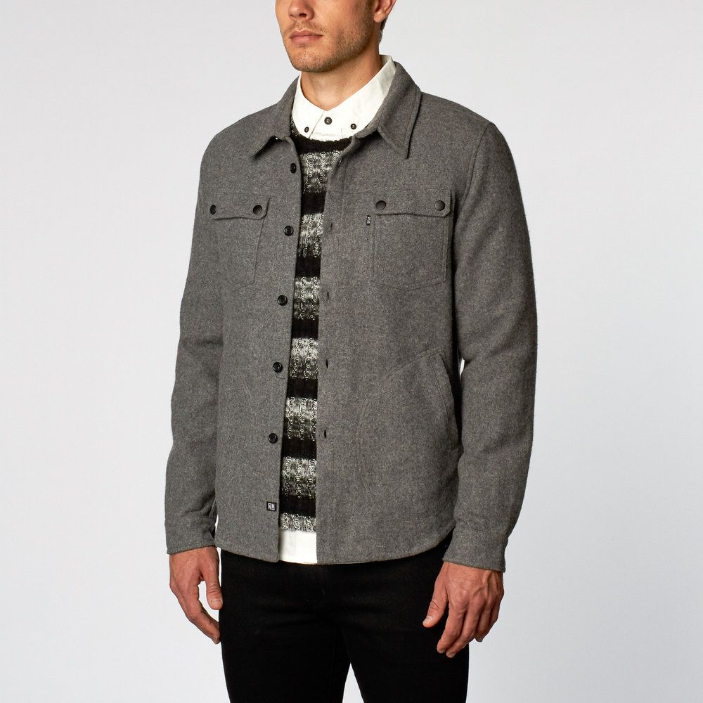"""Medium-weight. This is the one - the perfect shacket """" shirt / jacket """"to  take along when traveling perfect for layering. Wool exterior construction  features a fine fabric. Two front external pockets and with finished front  snap button closure. This fitted jacket is for pedestrians and office  activity.  Content + Care - Wool - Hand wash or Never Wash - Imported  Size + Fit - Model is 6'1"""" and wearing size Medium - Measurements taken from size Medium - Chest: 22&qu..."""