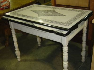 antique kitchen tables inexpensive island vintage enamel top table in