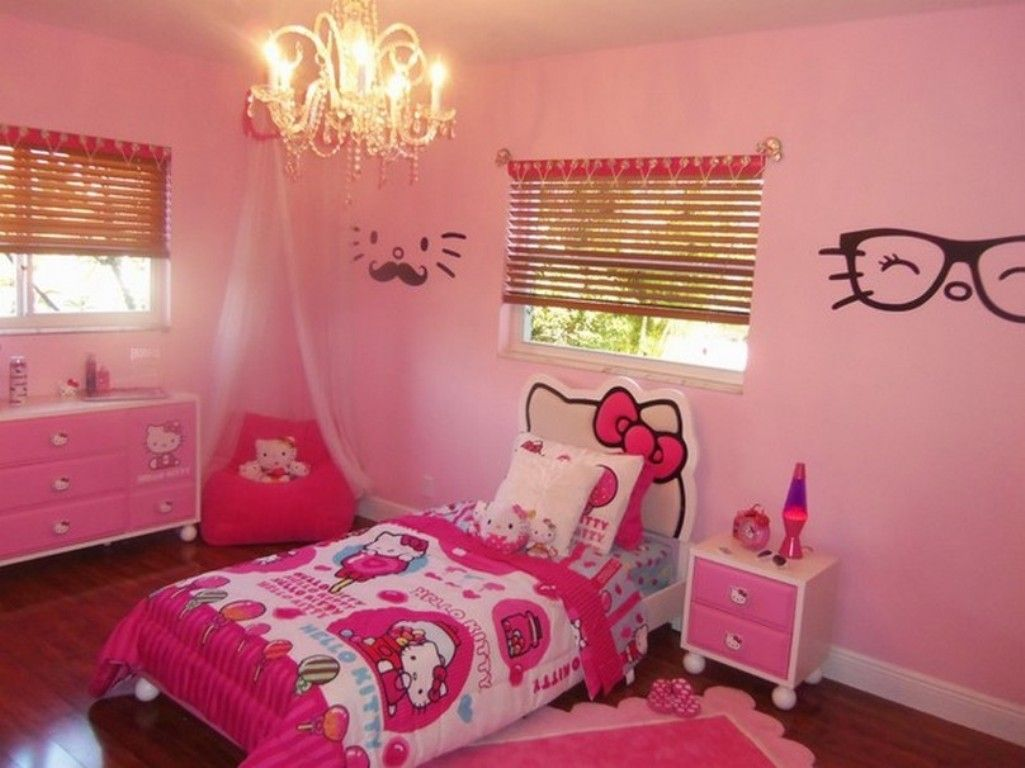 Hello kitty bedroom designs for girls - Amazing Bedroom Decor With Unique Pendant Light Above Hello Kitty Bed Design And Pink Wall Paint Color Also Using Bamboo Curtains For Glass Window