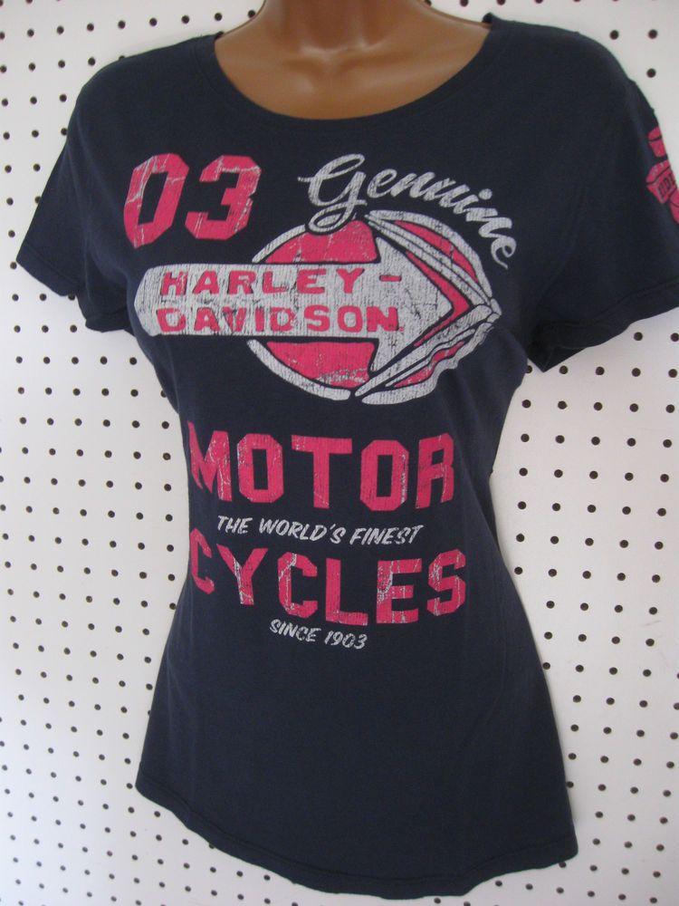 c2720241 nwt HARLEY DAVIDSON **Navy Blue/Hot Pink** Tee Shirt Top #HarleyDavidson  #GraphicTee