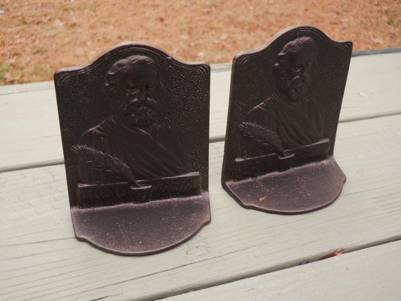 Vintage Bronze Henry Longfellow Bookends by UncleJimmysAttic