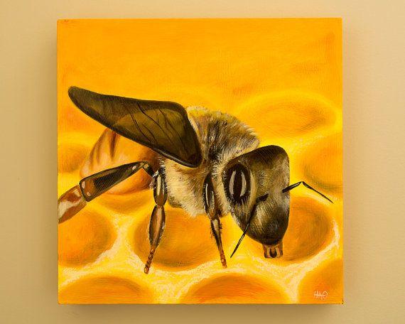 Original Bumble Bee Painting by HeatherAnnOrlando on Etsy, $120.00