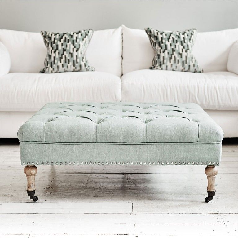 Oxford Ottoman Coffee Table Aqua Blue Tweed | Upholstery | Pinterest