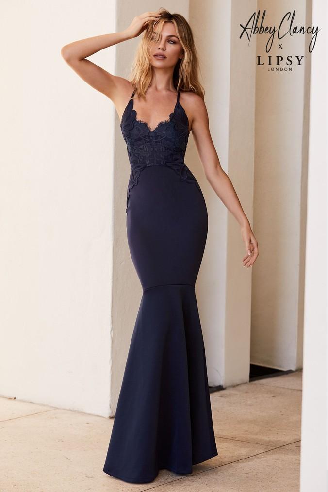 df5f5ab6c2e14 Womens Abbey Clancy x Lipsy Petite Applique Artwork Fishtail Hem Maxi Dress  - Blue