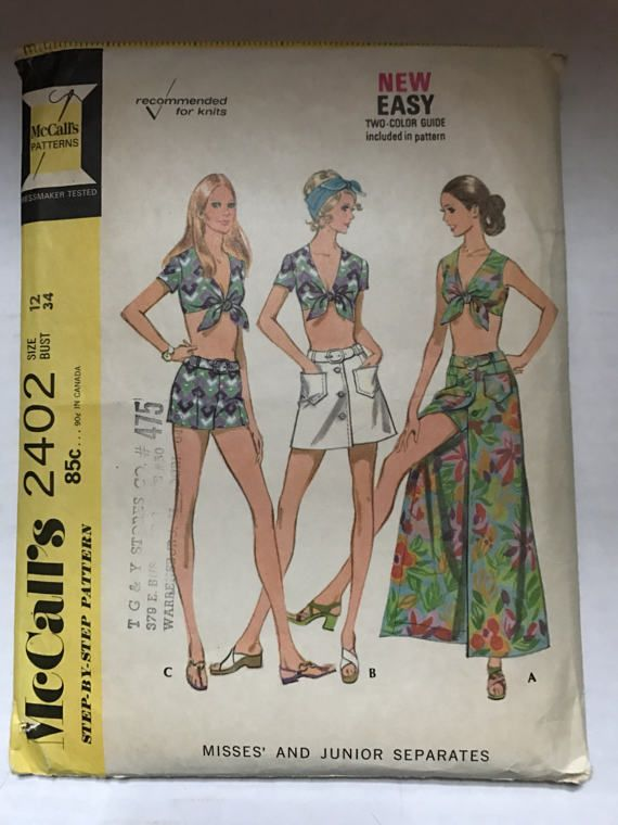 Vintage 1970 McCall\'s 2402 Sewing Pattern Front Tie Cropp Top ...