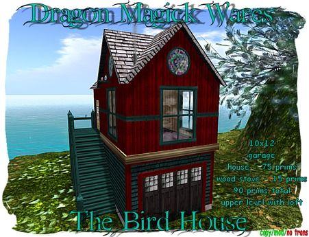 Dragon Magick Wares The Bird House with Wood Stove Garage