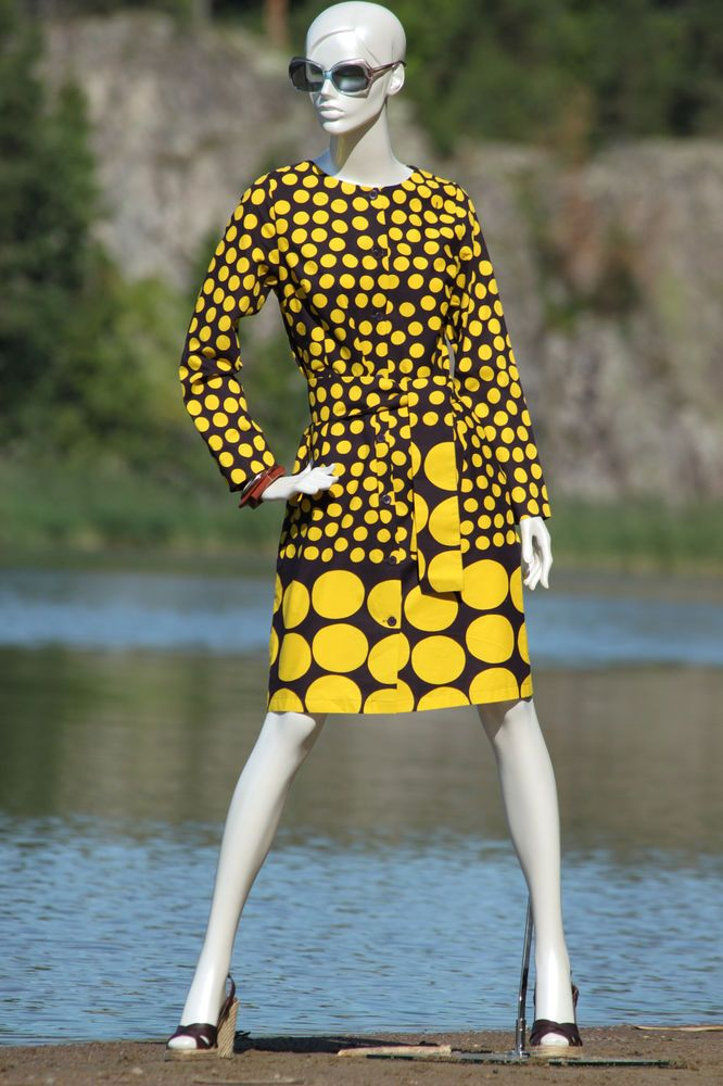 "BNWT MARIMEKKO Yellow ""Sedna"" Shirt Dress Size S"